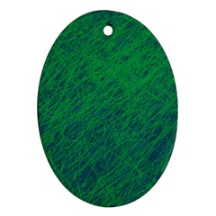 Deep green pattern Oval Ornament (Two Sides)