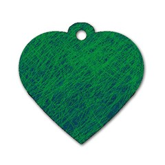 Deep green pattern Dog Tag Heart (Two Sides)