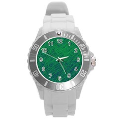 Deep green pattern Round Plastic Sport Watch (L)