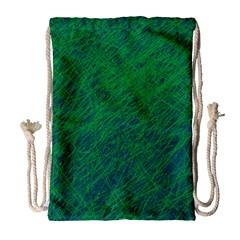 Deep green pattern Drawstring Bag (Large)