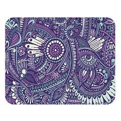 Purple Hippie Flowers Pattern, zz0102, Double Sided Flano Blanket (Large)