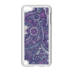 Purple Hippie Flowers Pattern, zz0102, Apple iPod Touch 5 Case (White)