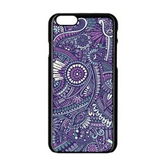 Purple Hippie Flowers Pattern, Zz0102, Apple Iphone 6/6s Black Enamel Case