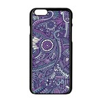 Purple Hippie Flowers Pattern, zz0102, Apple iPhone 6/6S Black Enamel Case Front