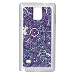 Purple Hippie Flowers Pattern, zz0102, Samsung Galaxy Note 4 Case (White)