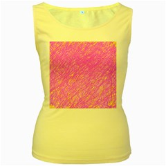 Pink pattern Women s Yellow Tank Top