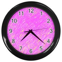 Pink pattern Wall Clocks (Black)