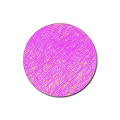 Pink pattern Rubber Round Coaster (4 pack)