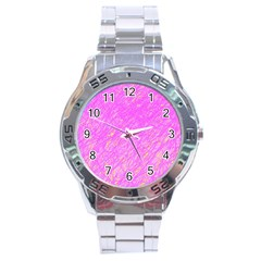 Pink pattern Stainless Steel Analogue Watch