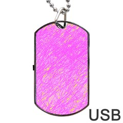 Pink pattern Dog Tag USB Flash (One Side)