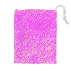 Pink pattern Drawstring Pouches (Extra Large)