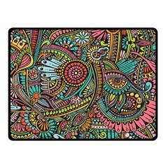 Colorful Hippie Flowers Pattern, zz0103 Double Sided Fleece Blanket (Small)