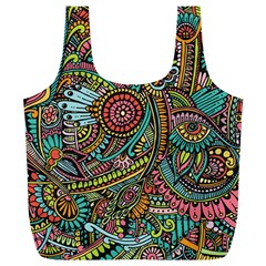 Colorful Hippie Flowers Pattern, zz0103 Full Print Recycle Bag (XL)