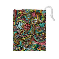 Colorful Hippie Flowers Pattern, zz0103 Drawstring Pouch (Large)