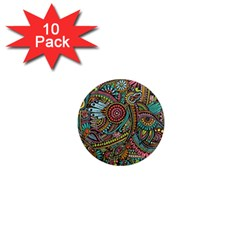Colorful Hippie Flowers Pattern, zz0103 1  Mini Magnet (10 pack)