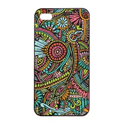 Colorful Hippie Flowers Pattern, zz0103 Apple iPhone 4/4s Seamless Case (Black)
