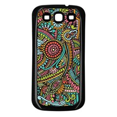 Colorful Hippie Flowers Pattern, zz0103 Samsung Galaxy S3 Back Case (Black)
