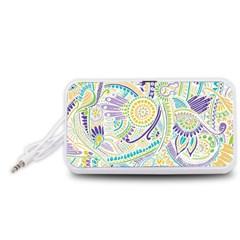 Purple, Green, Yellow Hippie Flowers Pattern, zz0104, Portable Speaker (White)