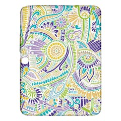 Purple, Green, Yellow Hippie Flowers Pattern, zz0104, Samsung Galaxy Tab 3 (10.1 ) P5200 Hardshell Case