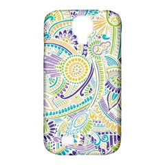 Purple, Green, Yellow Hippie Flowers Pattern, zz0104, Samsung Galaxy S4 Classic Hardshell Case (PC+Silicone)