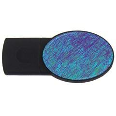 Blue pattern USB Flash Drive Oval (2 GB)