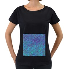 Blue pattern Women s Loose-Fit T-Shirt (Black)