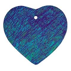 Blue pattern Heart Ornament (2 Sides)
