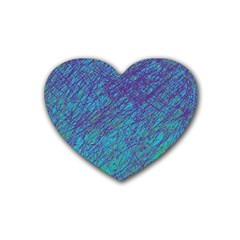 Blue pattern Rubber Coaster (Heart)