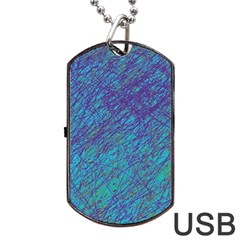 Blue pattern Dog Tag USB Flash (Two Sides)