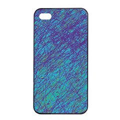 Blue pattern Apple iPhone 4/4s Seamless Case (Black)