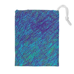 Blue pattern Drawstring Pouches (Extra Large)