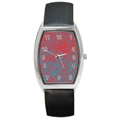 Red and blue pattern Barrel Style Metal Watch