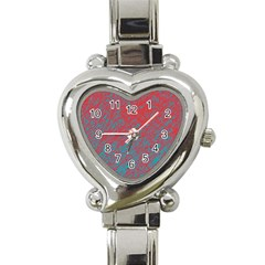 Red and blue pattern Heart Italian Charm Watch