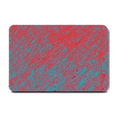 Red and blue pattern Small Doormat