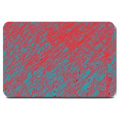 Red and blue pattern Large Doormat