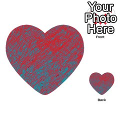 Red and blue pattern Multi-purpose Cards (Heart)