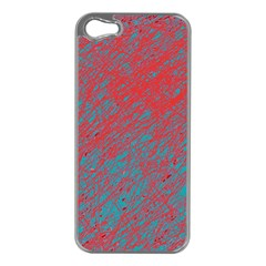 Red and blue pattern Apple iPhone 5 Case (Silver)