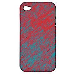 Red and blue pattern Apple iPhone 4/4S Hardshell Case (PC+Silicone)
