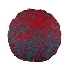 Red and blue pattern Standard 15  Premium Round Cushions