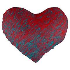 Red and blue pattern Large 19  Premium Heart Shape Cushions