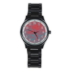 Red and blue pattern Stainless Steel Round Watch