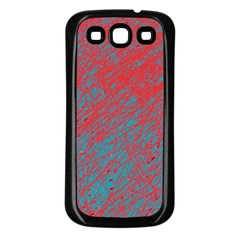 Red and blue pattern Samsung Galaxy S3 Back Case (Black)