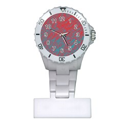 Red and blue pattern Plastic Nurses Watch