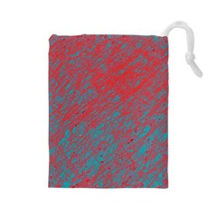 Red and blue pattern Drawstring Pouches (Large)