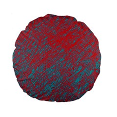 Red and blue pattern Standard 15  Premium Flano Round Cushions