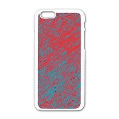 Red and blue pattern Apple iPhone 6/6S White Enamel Case