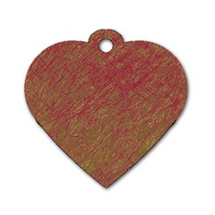 Brown pattern Dog Tag Heart (Two Sides)