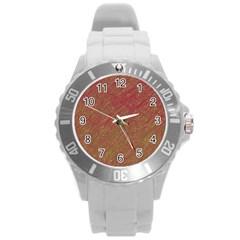 Brown pattern Round Plastic Sport Watch (L)
