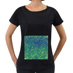 Green pattern Women s Loose-Fit T-Shirt (Black)