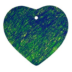 Green pattern Heart Ornament (2 Sides)